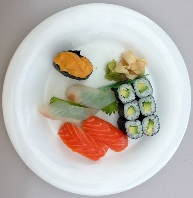 Lunch at work: Uni (sea urchin), hirame (wild halibut), sake (wild Alaskan salmon), avocado roll