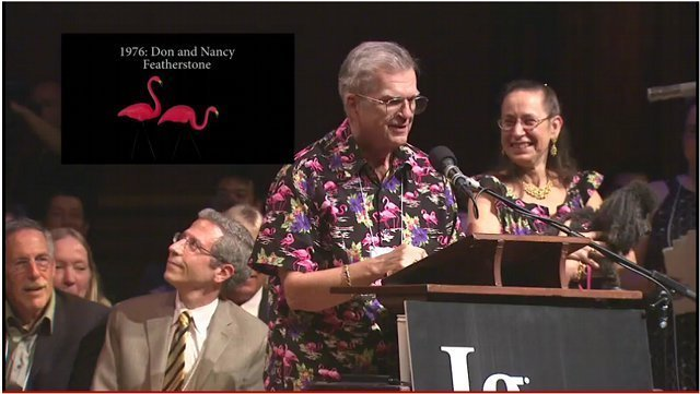 Past Ig Nobel winners Don and Nancy Featherstone (1996 for the creation of the plastic pink lawn flamingo) talk at the 2011 Ig Nobel Cermony