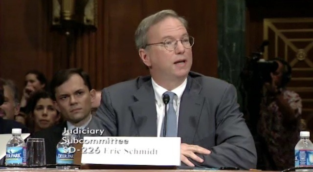 Google's Eric Schmidt at the Senate antitrust hearing