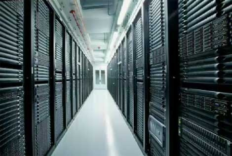 Racks of servers that populate Apple's $1 billion data center in Maiden, North Carolina.