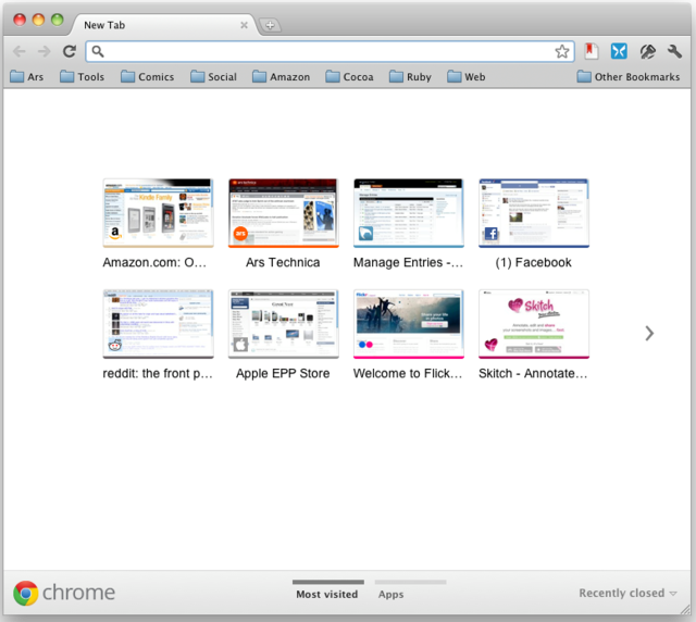 Chrome 15 released with... improved start page