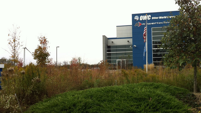 OWC's Woodstock, Illinois corporate headquarters, nestled among all-native landscaping.