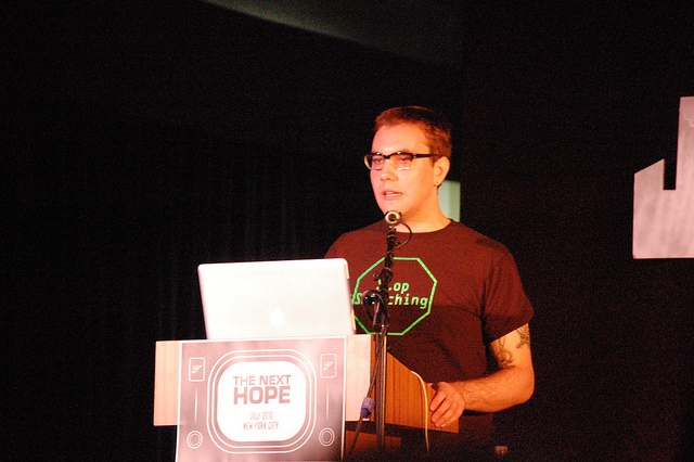 Jacob Appelbaum speaks on behalf of WikiLeaks at The Next Hope conference in New York City in July 2010