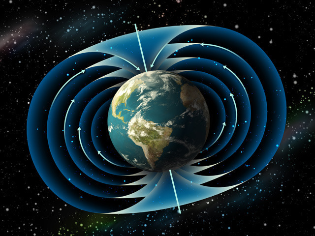 The Earth shown with rotational axis and magnetic field lines. The axis actually changes over time.