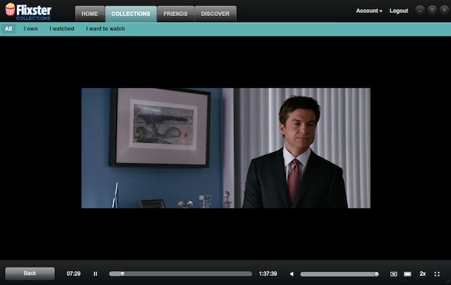 Watching the standard definition digital copy of a movie in Flixster (not shown in actual size).