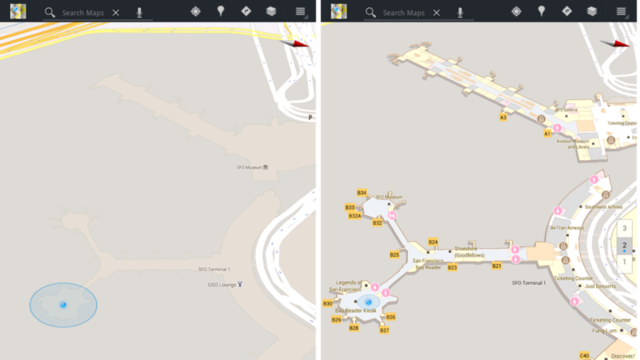 San Francisco International Airport on an Android tablet, before and after addition of Indoor Maps