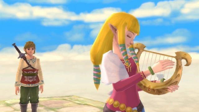 Link and Zelda share a peaceful moment before everything goes pear-shaped and he has to save the world in Zelda: Skyward Sword for Wii
