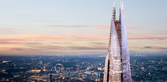A visualization of the Shard's complete spire.