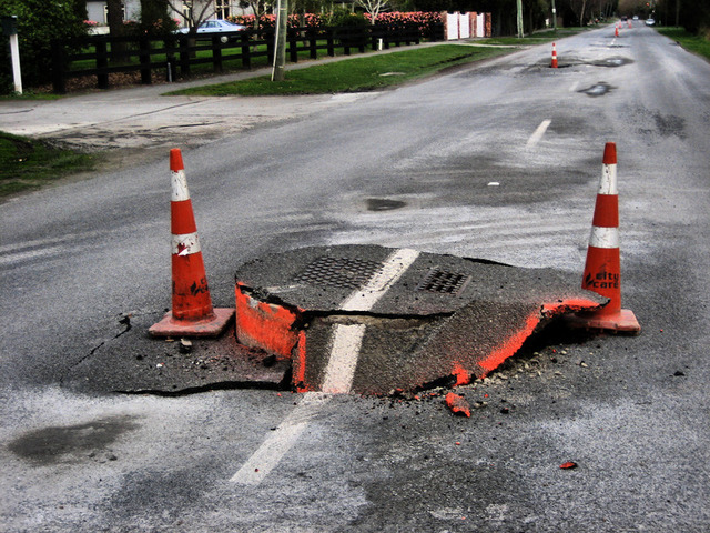 Earthquake damage to a road near Canterbury, New Zealand