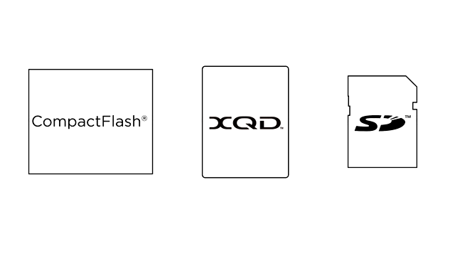 A size comparison between CompactFlash, the new XQD, and SD memory crd formats.