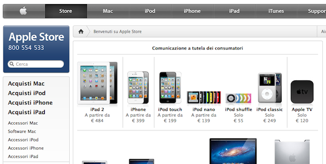 Apple's Italian online store, with the text