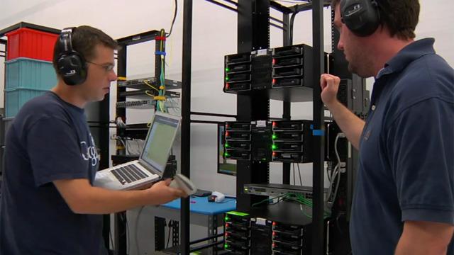 Google technicians test hard drives at their data center in Moncks Corner, South Carolina