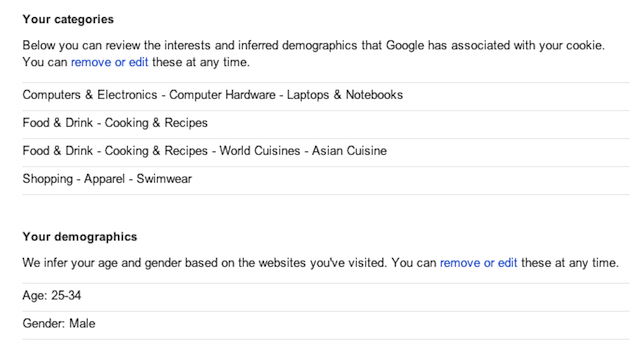 Google's demographic and interest guesses... for a 24-year old female.