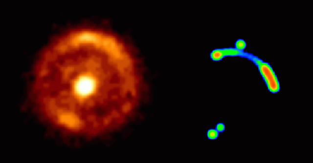 Left: Hubble Space Telescope infrared image of Einstein ring B1938+666; right: Einstein ring in radio light