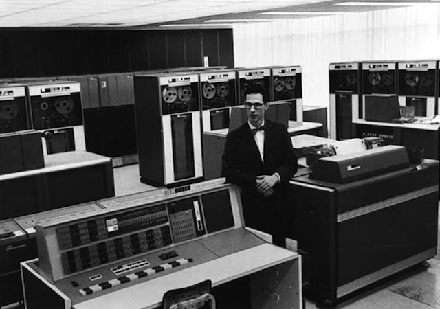 Fernando Corbató at MIT in the 1960s. Was MIT's CTSS computer the first one to use passwords?