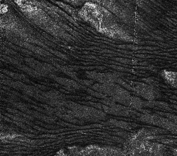 Giant dune fields on Titan, imaged with radar