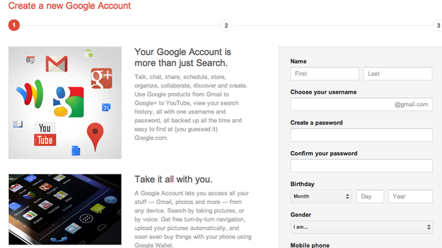 The new Google account signup page