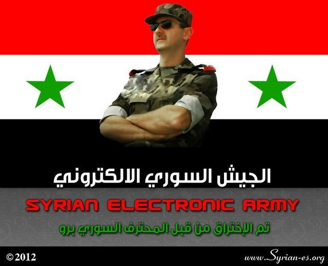 An image posted to the Al Jazeera Syria Live Blog by hackers supporting President Assad.