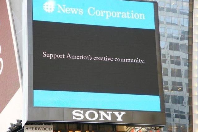 The pro-SOPA ad in Times Square