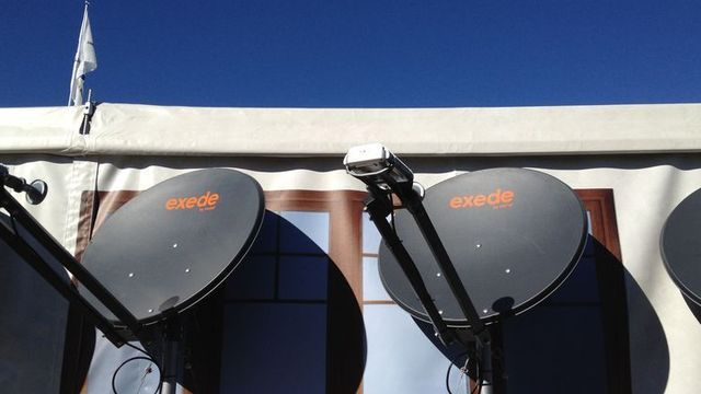 ViaSat Exede home satellite broadband dishes at CES in Las Vegas