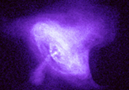 Chandra X-ray Telescope image of the central region of the Crab Nebula, showing the effects of the pulsar wind streaming out from the hidden central neutron star.