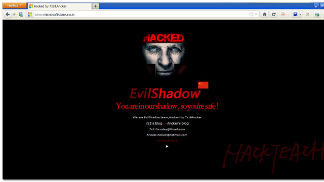 The defaced homepage of the Microsoft Store in India.