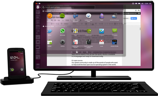 Ubuntu running from a docked Android phone