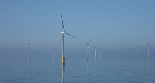 Offshore wind turbines in the Irish Sea, in calm weather.