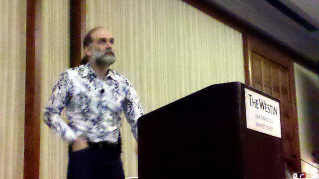 Bruce Schneier speaking at The Westin hotel in San Francisco
