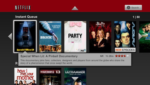 My Netflix queue, as seen on the Vita. Please don't judge me for rewatching <i>Sliders</i>...