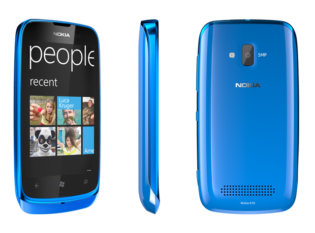 The Nokia Lumia 610, which will come in cyan, magenta, black, and white.