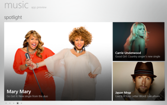 The Windows 8 Music store was released as part of the Windows 8 Consumer Preview