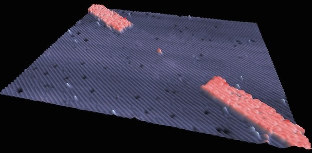 Electron micrograph of a single-atom transistor. The bump at the image center is where a single phosphorous atom was introduced to a silicon lattice; the rectangular items in the corners are the leads of the transistor, also fabricated of silicon.