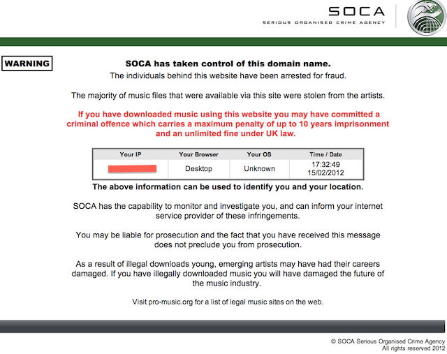 The initial SOCA warning page