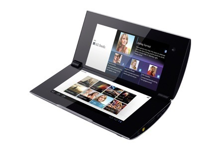 The Sony Tablet P, in all of its foldable glory.
