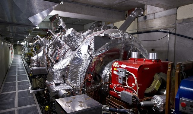 A portion of the experimental apparatus used to trap and manipulate the spin-flip state of antihydrogen atoms.