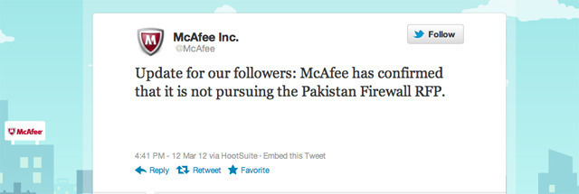 McAfee became the latest major IT company refusing to work with the Pakistani government