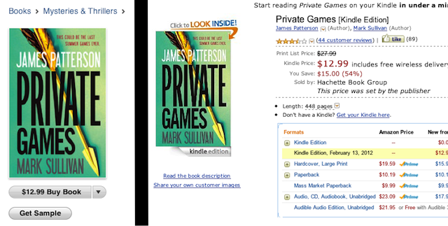 Left, a book from the publisher Hachette Digital, one of the publishers that may be colluding with Apple on e-book prices; right, the same book on Amazon, for the same price.