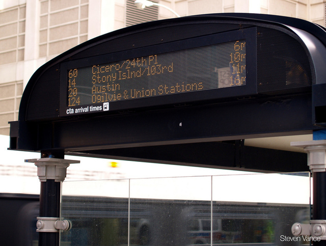 A Chicago bus tracking display