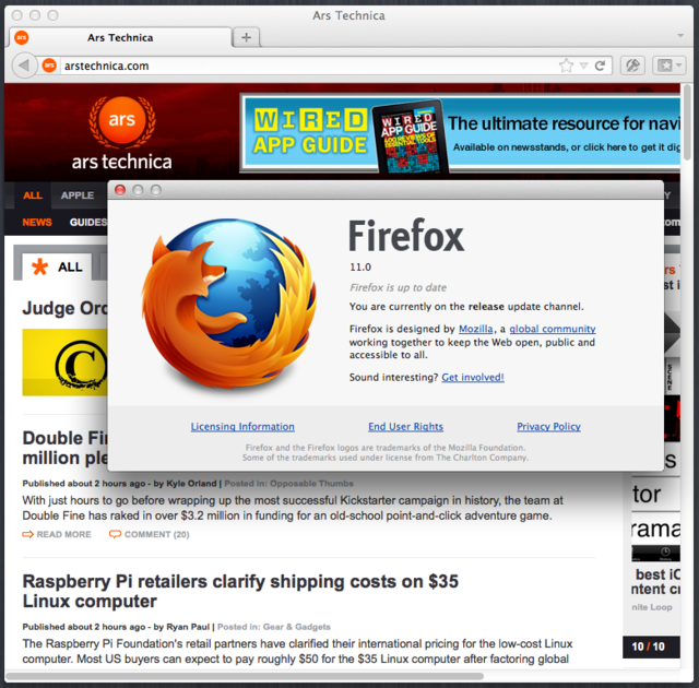 FIrefox 11 on Mac OS X