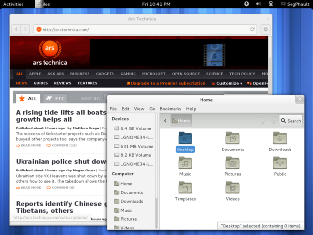 The GNOME 3.4 desktop