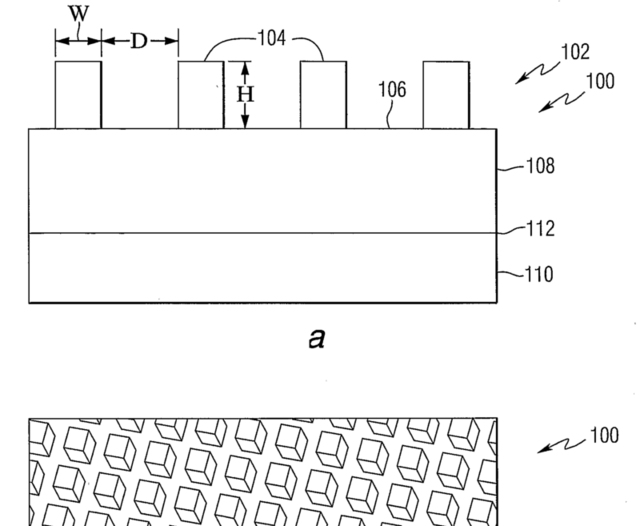 An image from Seagate's patent filing for HAMR technology, showing the pattern of storage bits on a disk surface. The bits can be heated by a laser to make them more easily written to, and are more magnetically stable when cool.