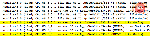 A snippet of our server logs that show iPads coming from Apple's corporate IP block allegedly running iOS 6