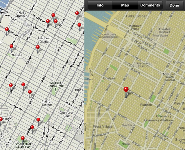 Left, the Google Maps-powered location data in iPhoto for Mac OS X; Right, roughly the same area shown in iPhoto for iOS