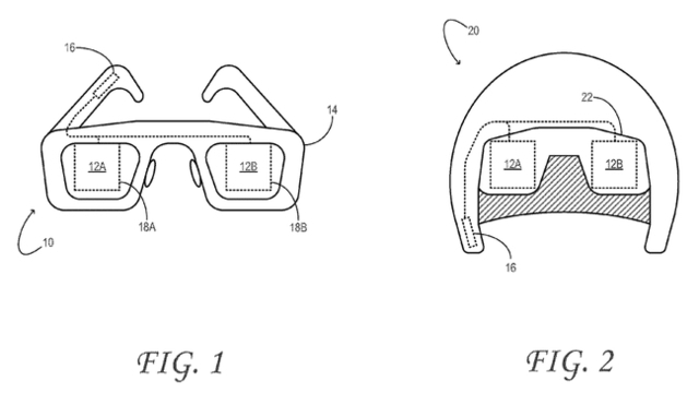 Illustrations from Microsoft's patent show the rough schematics for both a helmet-based display and one embedded in a pair of glasses.