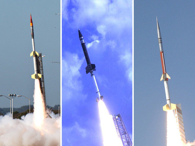 NASA is launching five rockets for the ATREX mission, including two Terrier-Improved Orions (left), one Terrier-Oriole (center), and two Terrier-Improved Malemutes (right).