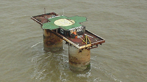 Helicopter approach to Sealand