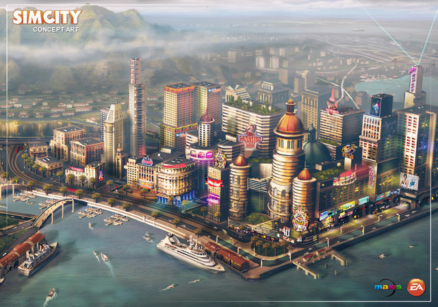 A piece of concept art from the upcoming <i>SimCity</i> shows the 3D,