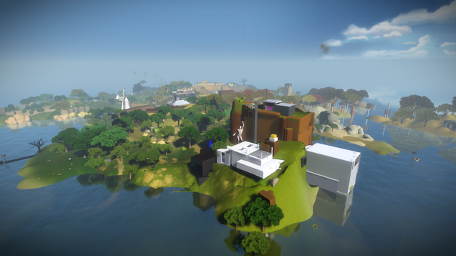 This overview shot of <i>The Witness</i> island setting doesn't do justice to the sense of loneliness you feel on the ground.