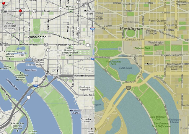 Washington D.C. displayed in iPhoto for Mac OS X powered by Google Maps, left, and iPhoto for iOS, right. Some areas are labeled on one but not the other (e.g. The White House) and vice versa.